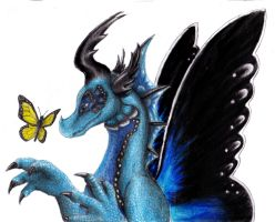 Butterfly and dragon by QueenTurchese94
