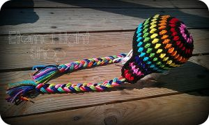 Rainbow Puff Stitch Beanie Newborn to Toddler by xKornsFreakx