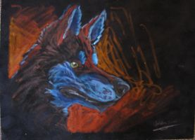 Husky in Oil Pastel by jabbershire-cat