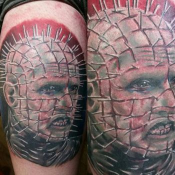 pinhead tattoo by thirteen7s