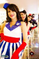 USO Girls and Captain America by BloodyChibi