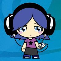 headphone girl on blue by eggay