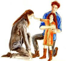 Aro, Edward and Nessie by LittleSeaSparrow