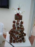 sugar flowers n chocolate pots by Dragonsanddaffodils