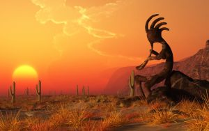 Kokopelli Sunset by deskridge