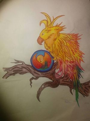 Chocobo inspired Fantasy Bird and it's baby chick by PhiliaStrife
