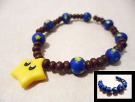 Polymer Clay Star Bead Bracelet, feat. Mario Star by Saru-Hime