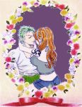 Zoro and Nami Floral Frame by BelleLoveZoro