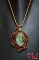 Green Lake, Wire Wrapped Jewellery Necklace by vsvita