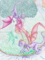 Spyro and Cynder Drawing by chocogingerfingers