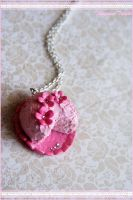 Pink Floral Cake Necklace by TangerineTaiyaki