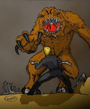 Luke vs. Rancor by BreteKosan