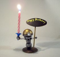 Robot Birthday Cake Candle and by buildersstudio