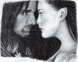 Arwen and Aragorn by amoshne