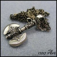 Battle Axe Necklace by 1337-Art