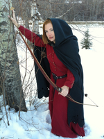 Green dagged cloak with bow by Dreamtraveller
