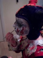 Zombie Harlequin Makeup Application by Catzombies