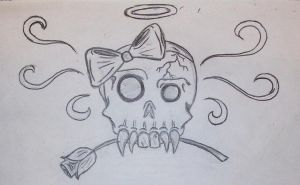 Skull and Bow by blackiceheart