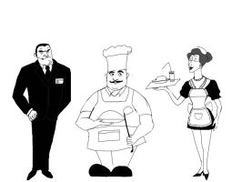 Employees of the restaurant by Lucius007