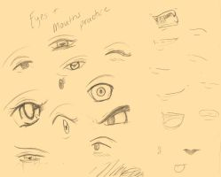 Otakon Doodles - Eyes + Mouths by nichan