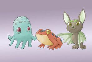 Fakemon Starters by facelesscow