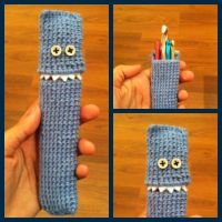 Crochet Hook Monster Case With Teeth by MuseOfWords