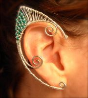 Water Nymph Elf Ear Wraps Handmade Fantasy Jewelry by jhammerberg
