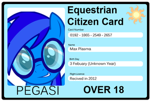 Max Plasma's Equestrian Citizen Card by Maxis122