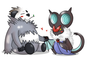 Noivern and Pangoro - art trade by ice-cream-skies