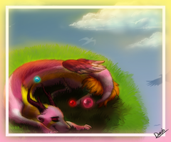 Dorph on her ball of grass by Tatchu