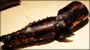 Steampunk leg Armor by BadLukArt