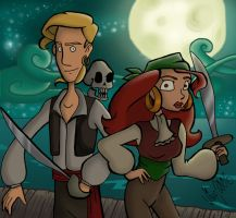 Guybrush and Elaine revamped by Shmivv