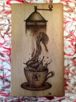 One more cup of Coffee 14 x 8 in by KamilPyrography