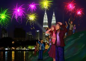 KLCC New Year Eve by KinKiat