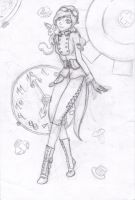 steampunk chick sketch by Cour-cour