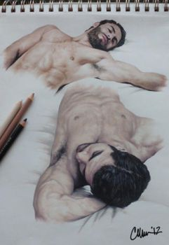 Study of Male Muscles/Poses Drawing by Live4ArtInLA