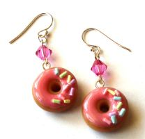 Strawberry Donut Earrings by FatallyFeminine