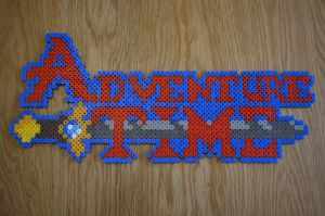 Adventure Time Logo in Hama Beads by sophiemai
