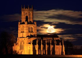 Fotheringhay Church Full Moonrise by ChrisDonohoe