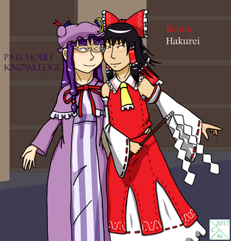 Reimu and Patchouli by Carmichael-Micaalus
