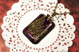Royal Purple Butterfly Violin Necklace by Necrosarium