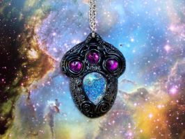 Polymer clay alien spaceship key pendant by dogzillalives