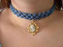Blue choker with cameo by Saurou