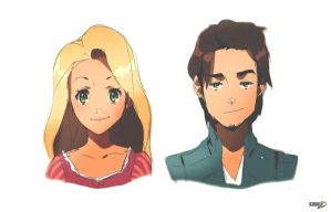 Rapunzel and Flynn Anime by moxie2D