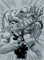 Hulk vs. Thing by Chuckdee