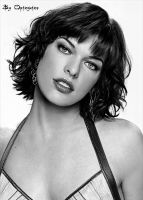 Milla Jovovich black and white by opinguino