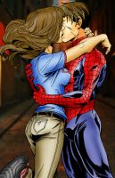 Shadowcat and Spiderman by Rosien-HoH