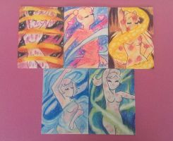 Sailor Moon Transformation ACEOs by kabukicolored