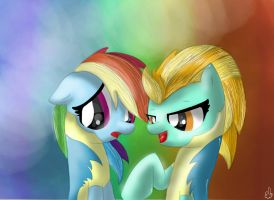 Rainbow dash and Lightning Dust by Silver-Diamonds