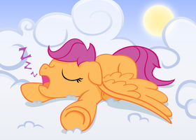 Snoozing Scootaloo by MoongazePonies